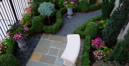 Garden with stone bench